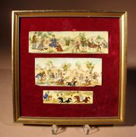 Three Persian Miniature Paintings of a Hunting Party on Bone c.1920