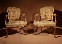 Louis XV Style Finely Carved Gildwood & Original Aubusson Tapestry Cabriolet Pair of Armchairs, 19th Century (2 of 18)