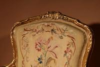 Louis XV Style Finely Carved Gildwood & Original Aubusson Tapestry Cabriolet Pair of Armchairs, 19th Century (3 of 18)
