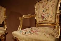 Louis XV Style Finely Carved Gildwood & Original Aubusson Tapestry Cabriolet Pair of Armchairs, 19th Century (4 of 18)