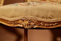 Louis XV Style Finely Carved Gildwood & Original Aubusson Tapestry Cabriolet Pair of Armchairs, 19th Century (5 of 18)