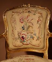 Louis XV Style Finely Carved Gildwood & Original Aubusson Tapestry Cabriolet Pair of Armchairs, 19th Century (7 of 18)