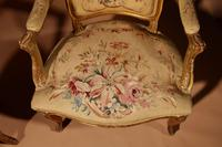 Louis XV Style Finely Carved Gildwood & Original Aubusson Tapestry Cabriolet Pair of Armchairs, 19th Century (8 of 18)