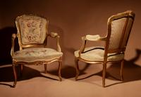Louis XV Style Finely Carved Gildwood & Original Aubusson Tapestry Cabriolet Pair of Armchairs, 19th Century (9 of 18)