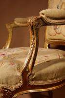 Louis XV Style Finely Carved Gildwood & Original Aubusson Tapestry Cabriolet Pair of Armchairs, 19th Century (10 of 18)