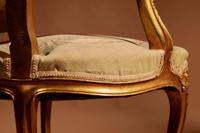 Louis XV Style Finely Carved Gildwood & Original Aubusson Tapestry Cabriolet Pair of Armchairs, 19th Century (15 of 18)
