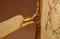 Louis XV Style Finely Carved Gildwood & Original Aubusson Tapestry Cabriolet Pair of Armchairs, 19th Century (16 of 18)