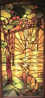 Tiffany Style Leaded Glass Parrot & Fox Door Window (2 of 6)