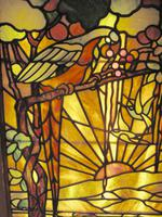 Tiffany Style Leaded Glass Parrot & Fox Door Window (3 of 6)