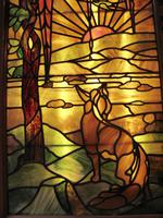 Tiffany Style Leaded Glass Parrot & Fox Door Window (4 of 6)