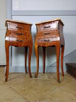 Pair of Italian Bombe Bedside Cabinets, Marquetry Rosewood