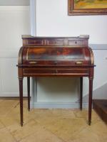 French Napoleon III Bonheur Du Jour, Cylindrical Desk with Gallant Scene