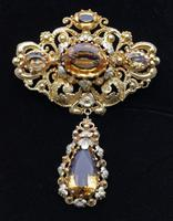 Early Victorian 18ct Gold Citrine Brooch with Cannetille Work