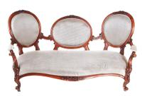 Fantastic Victorian Carved Walnut Cameo Back Settee