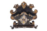 Victorian Papier Mache Lacquered Hand Painted Letter Stand