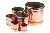 Unusual Set of Six Graduated Copper & Brass Vessels