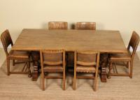 Oak Refectory Dining Table & 6 Leather Chairs Country (6 of 13)