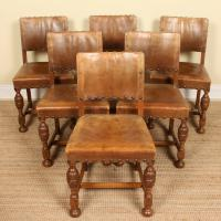 Oak Refectory Dining Table & 6 Leather Chairs Country (7 of 13)