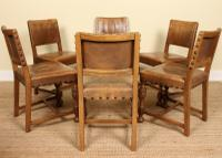 Oak Refectory Dining Table & 6 Leather Chairs Country (3 of 13)