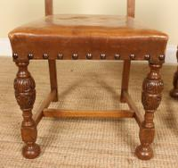 Oak Refectory Dining Table & 6 Leather Chairs Country (4 of 13)