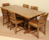 Oak Refectory Dining Table & 6 Leather Chairs Country