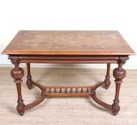 Swedish Oak Parquetry Table Carved 19th Century