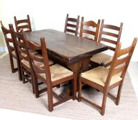 Oak Refectory Dining Table & 8 Chairs Country Rustic