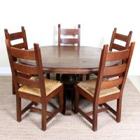 Oak Dining Table & 5 Chairs Country Rustic