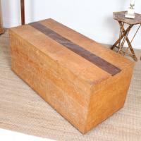 Large Honeycomb Adzed Carved Elm Blanket Box Chest