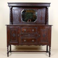 Edwardian Arts & Crafts Ebonised Carved Mirrored Oak Sideboard (5 of 11)