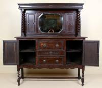 Edwardian Arts & Crafts Ebonised Carved Mirrored Oak Sideboard (6 of 11)