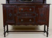 Edwardian Arts & Crafts Ebonised Carved Mirrored Oak Sideboard (8 of 11)