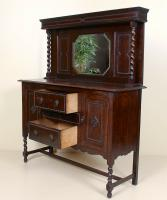 Edwardian Arts & Crafts Ebonised Carved Mirrored Oak Sideboard (3 of 11)