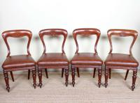 4 Balloon Spoon Dining Chairs Leather Mahogany