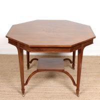 Octagonal Inlaid Flamed Mahogany Dining Table 19th Century