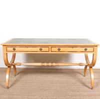 Maple Leather Library Desk Large Standalone Writing Table (2 of 13)