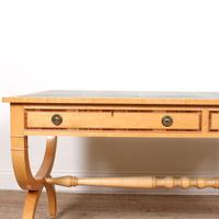 Maple Leather Library Desk Large Standalone Writing Table (3 of 13)