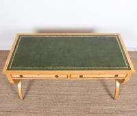 Maple Leather Library Desk Large Standalone Writing Table (6 of 13)