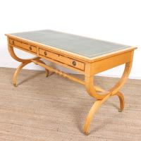 Maple Leather Library Desk Large Standalone Writing Table (8 of 13)