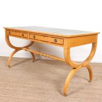 Maple Leather Library Desk Large Standalone Writing Table (9 of 13)
