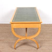 Maple Leather Library Desk Large Standalone Writing Table (10 of 13)