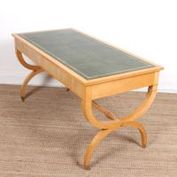 Maple Leather Library Desk Large Standalone Writing Table (12 of 13)