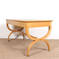 Maple Leather Library Desk Large Standalone Writing Table (13 of 13)