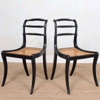 10 Regency Harlequin Ebonised Dining Chairs Bergere Cane Seats (14 of 15)