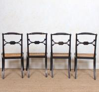 10 Regency Harlequin Ebonised Dining Chairs Bergere Cane Seats (9 of 15)
