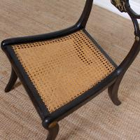 10 Regency Harlequin Ebonised Dining Chairs Bergere Cane Seats (11 of 15)