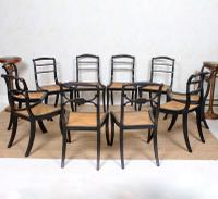 10 Regency Harlequin Ebonised Dining Chairs Bergere Cane Seats (3 of 15)