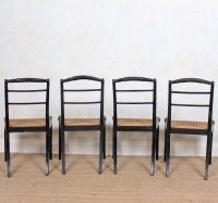 10 Regency Harlequin Ebonised Dining Chairs Bergere Cane Seats (6 of 15)