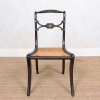 10 Regency Harlequin Ebonised Dining Chairs Bergere Cane Seats (13 of 15)