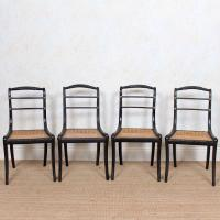 10 Regency Harlequin Ebonised Dining Chairs Bergere Cane Seats (5 of 15)